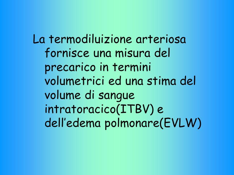 La termodiluizione arteriosa fornisce una misura del precarico in termini volumetrici ed una stima del volume di sangue intratoracico(ITBV) e dell'edema polmonare(EVLW)