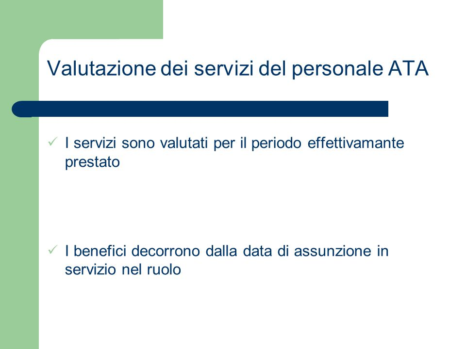 Valutazione dei servizi del personale ATA