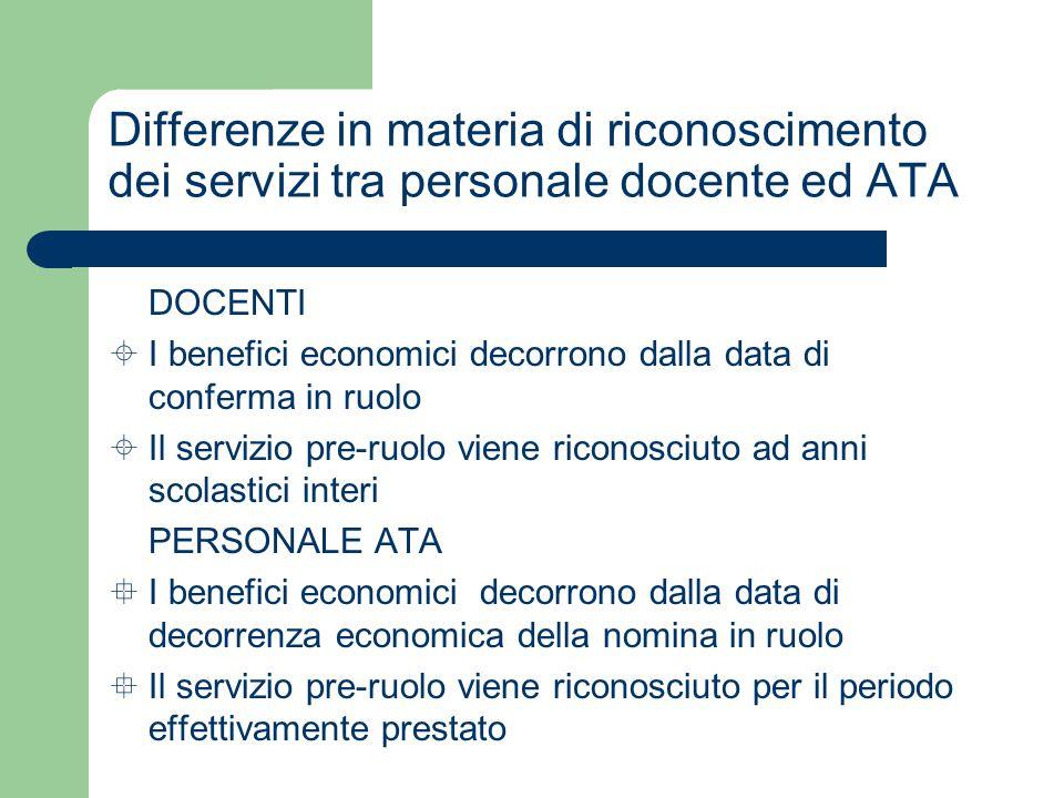 Differenze in materia di riconoscimento dei servizi tra personale docente ed ATA