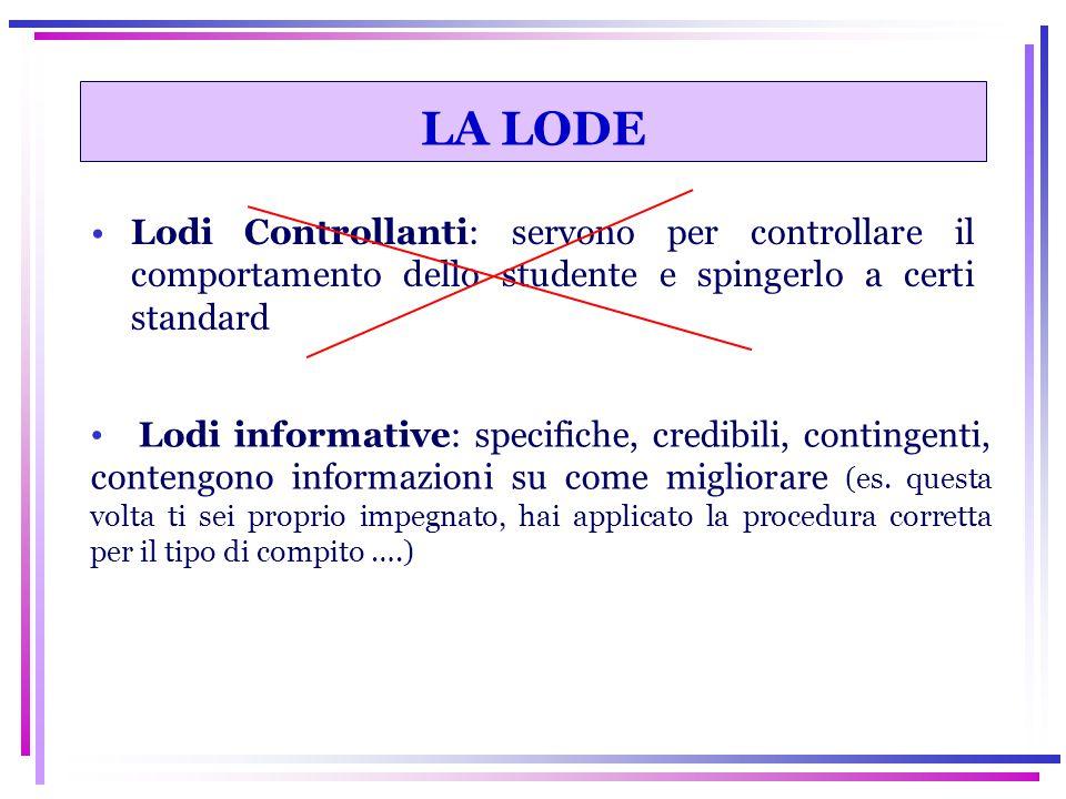 LA LODE Lodi Controllanti: servono per controllare il comportamento dello studente e spingerlo a certi standard.