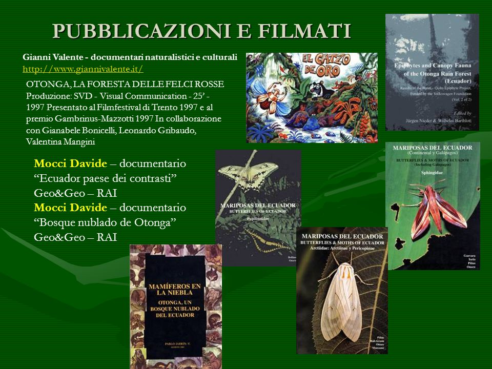 PUBBLICAZIONI E FILMATI