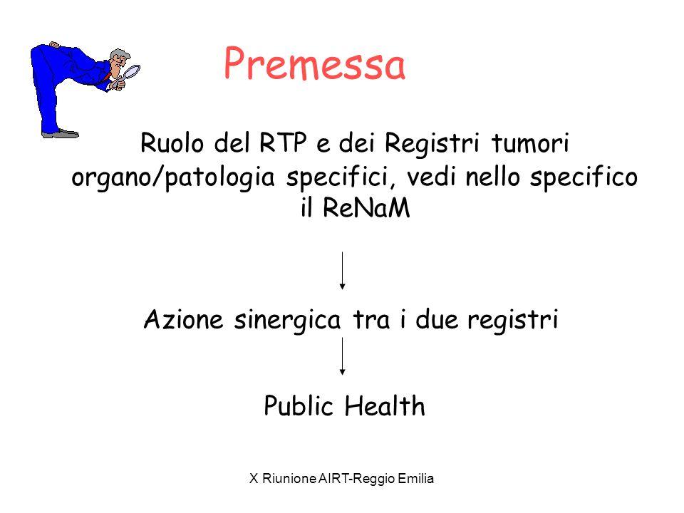 Premessa Ruolo del RTP e dei Registri tumori organo/patologia specifici, vedi nello specifico il ReNaM.