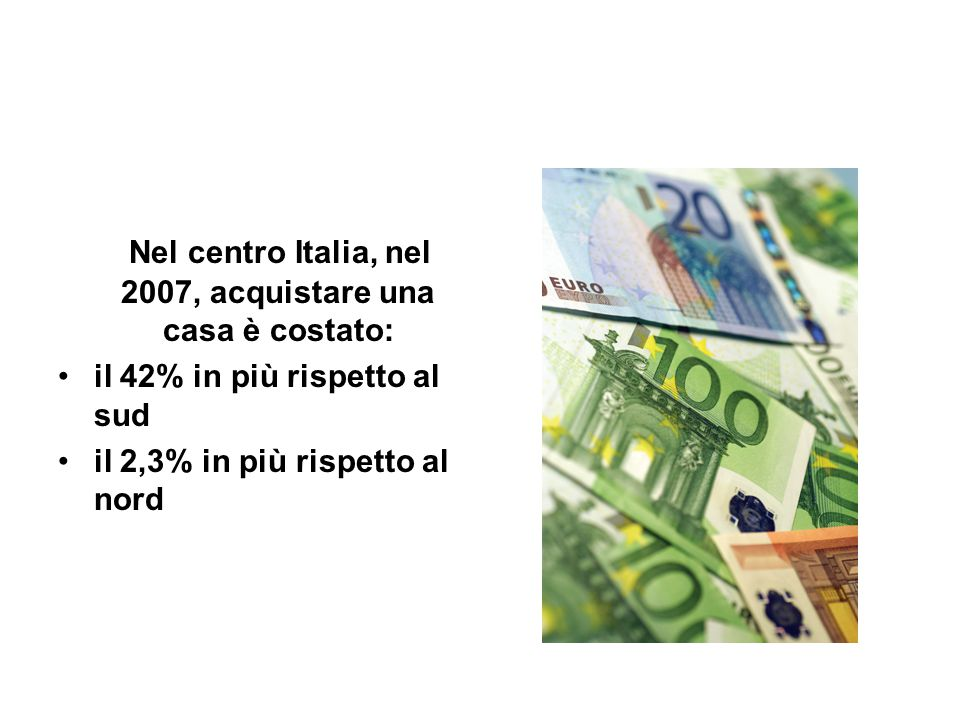 Nel centro Italia, nel 2007, acquistare una casa è costato: