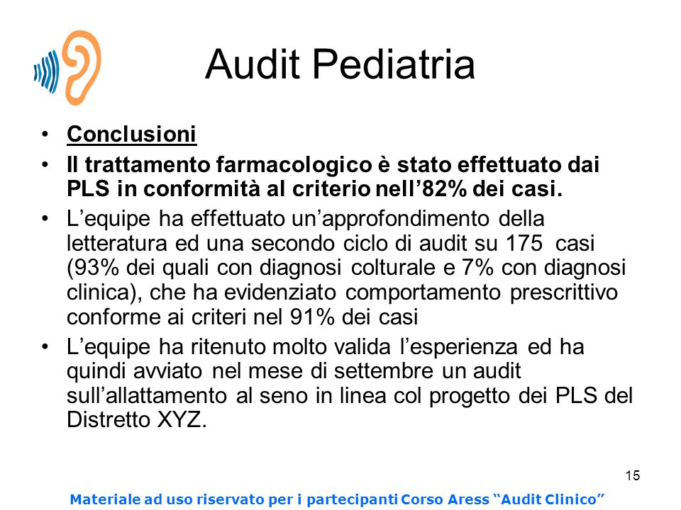 Audit Pediatria Conclusioni