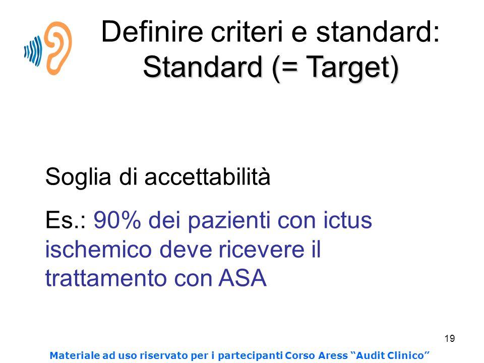 Definire criteri e standard: Standard (= Target)