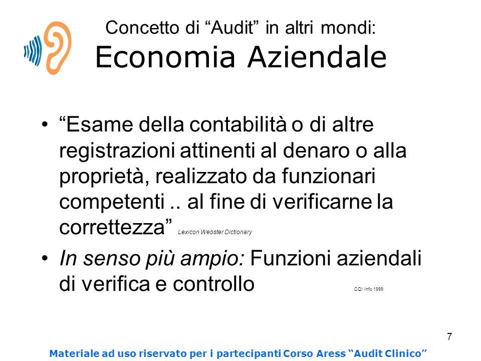 Concetto di Audit in altri mondi: Economia Aziendale