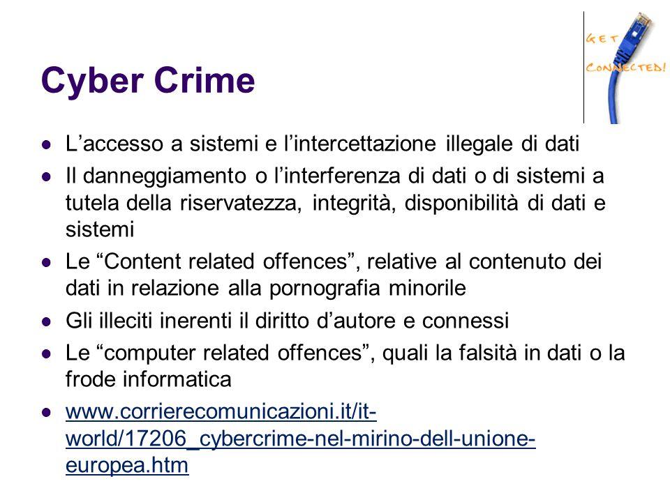 Cyber Crime L'accesso a sistemi e l'intercettazione illegale di dati