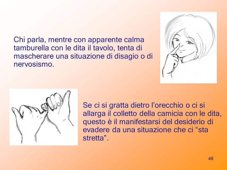 Chi parla, mentre con apparente calma tamburella con le dita il tavolo, tenta di mascherare una situazione di disagio o di nervosismo.