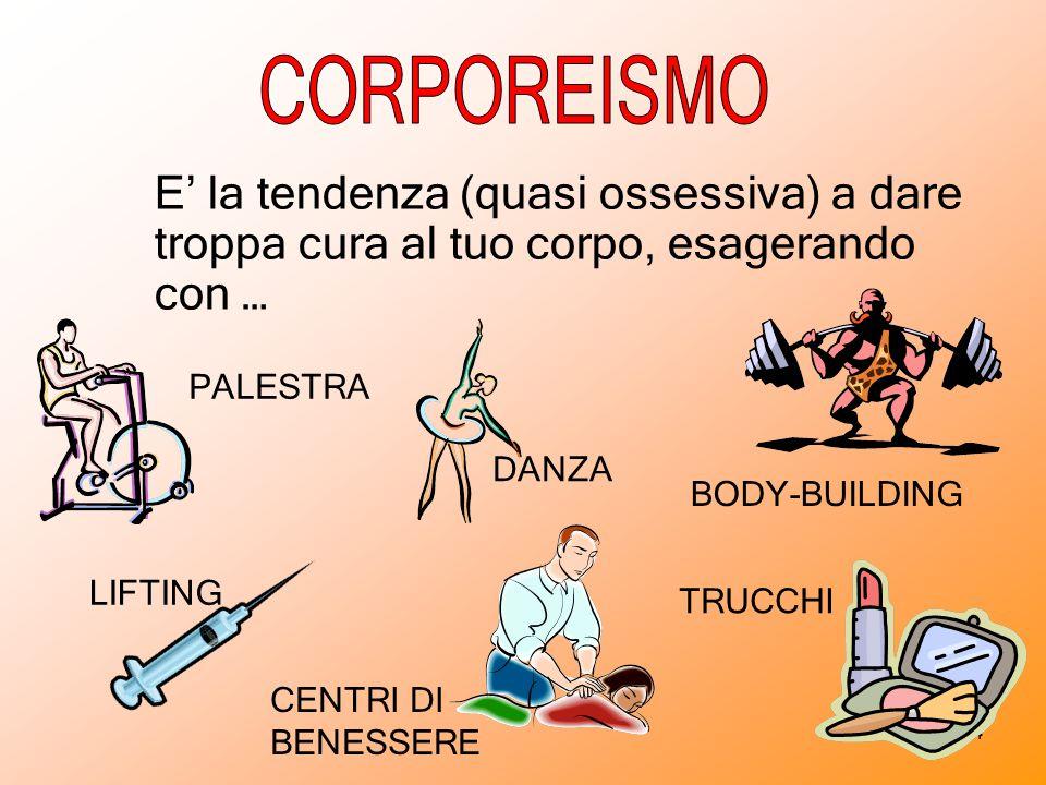 CORPOREISMO E' la tendenza (quasi ossessiva) a dare troppa cura al tuo corpo, esagerando con … PALESTRA.