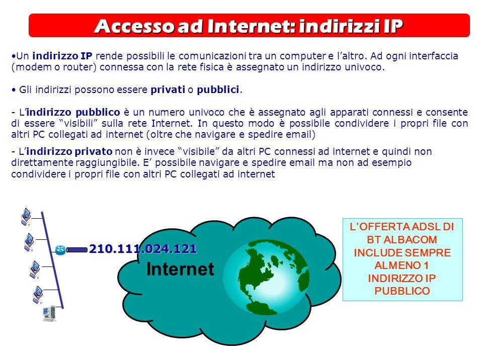 Accesso ad Internet: indirizzi IP