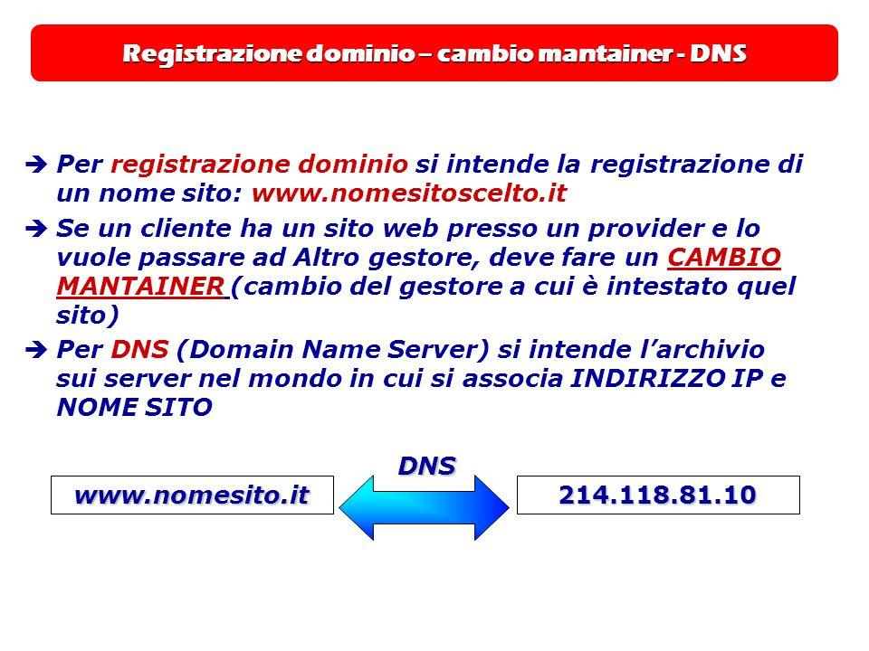 Registrazione dominio – cambio mantainer - DNS