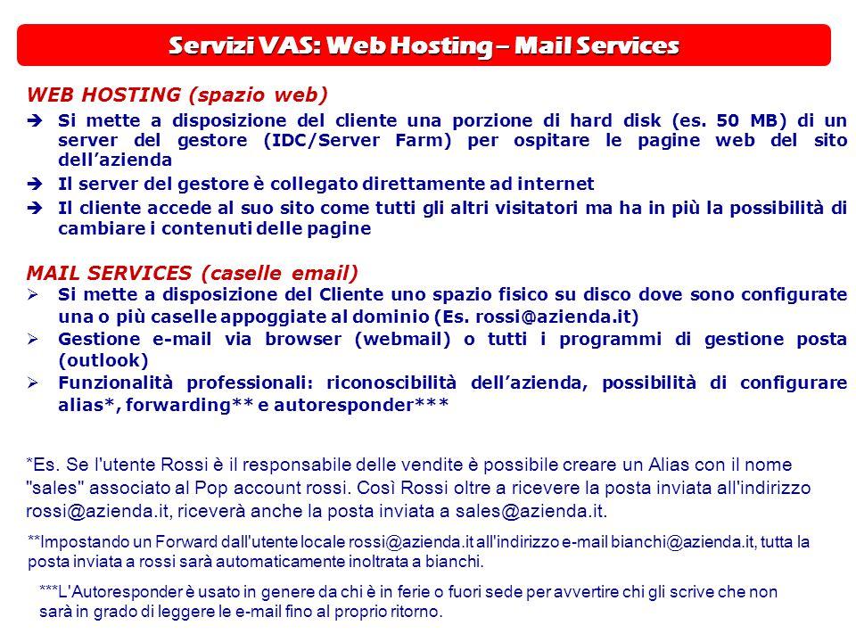 Servizi VAS: Web Hosting – Mail Services