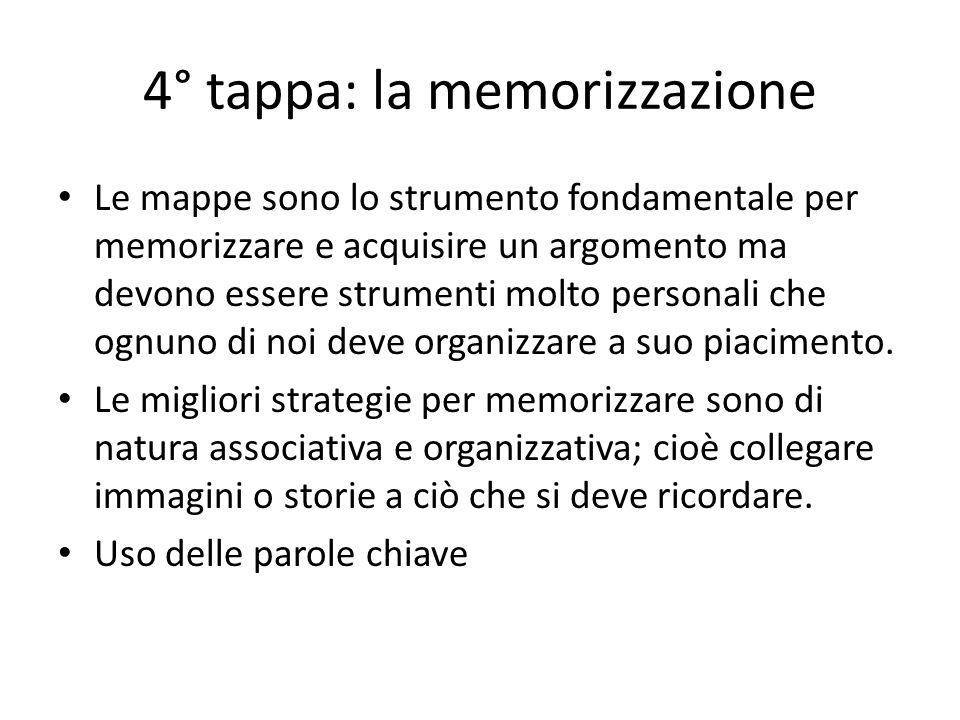 4° tappa: la memorizzazione