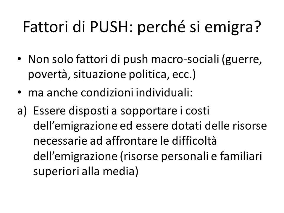 Fattori di PUSH: perché si emigra