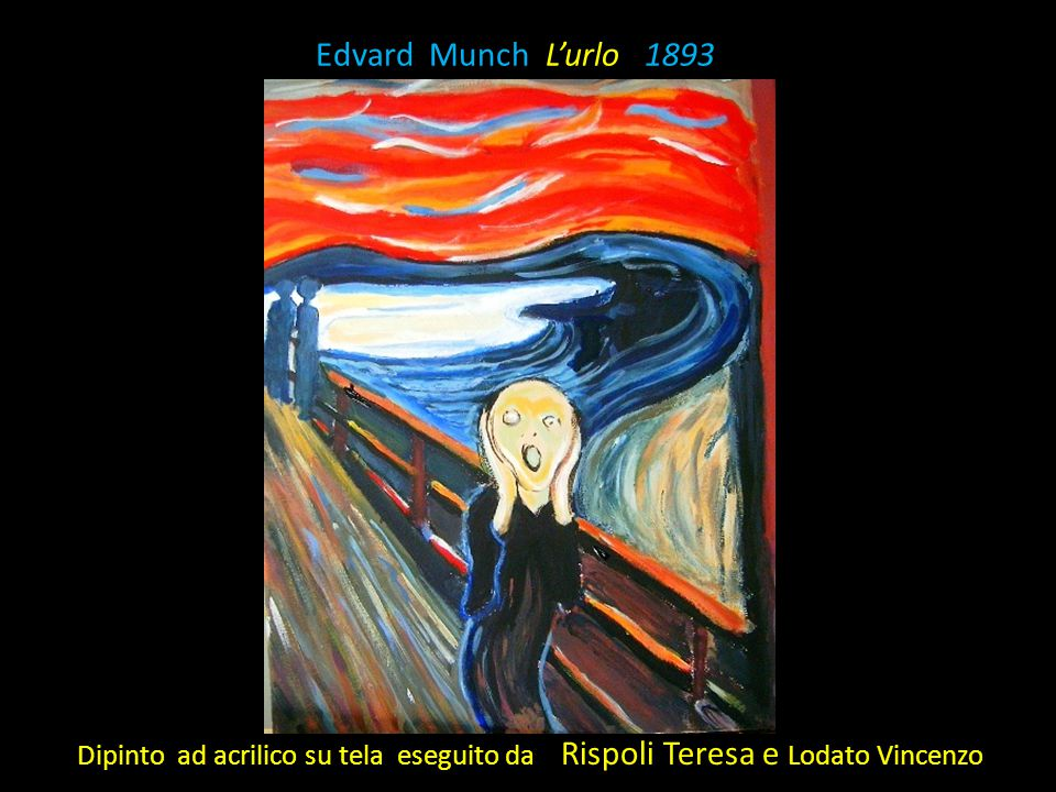 Edvard Munch L'urlo 1893 Dipinto ad acrilico su tela eseguito da Rispoli Teresa e Lodato Vincenzo.