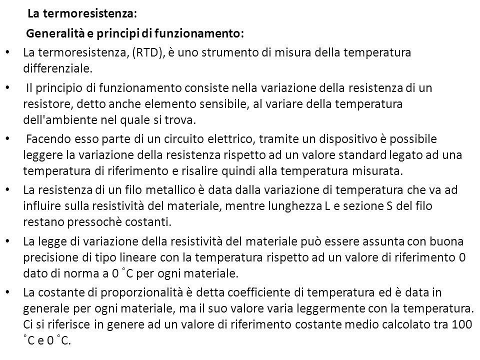 La termoresistenza: Generalità e principi di funzionamento: