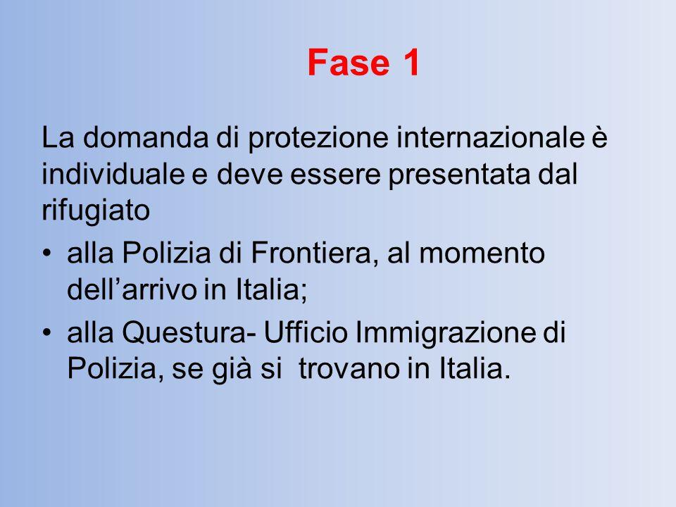 Fase 1 La domanda di protezione internazionale è individuale e deve essere presentata dal rifugiato.
