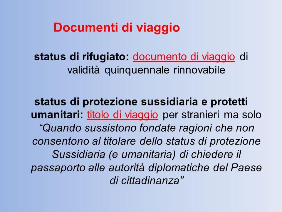 Documenti di viaggio status di rifugiato: documento di viaggio di validità quinquennale rinnovabile.