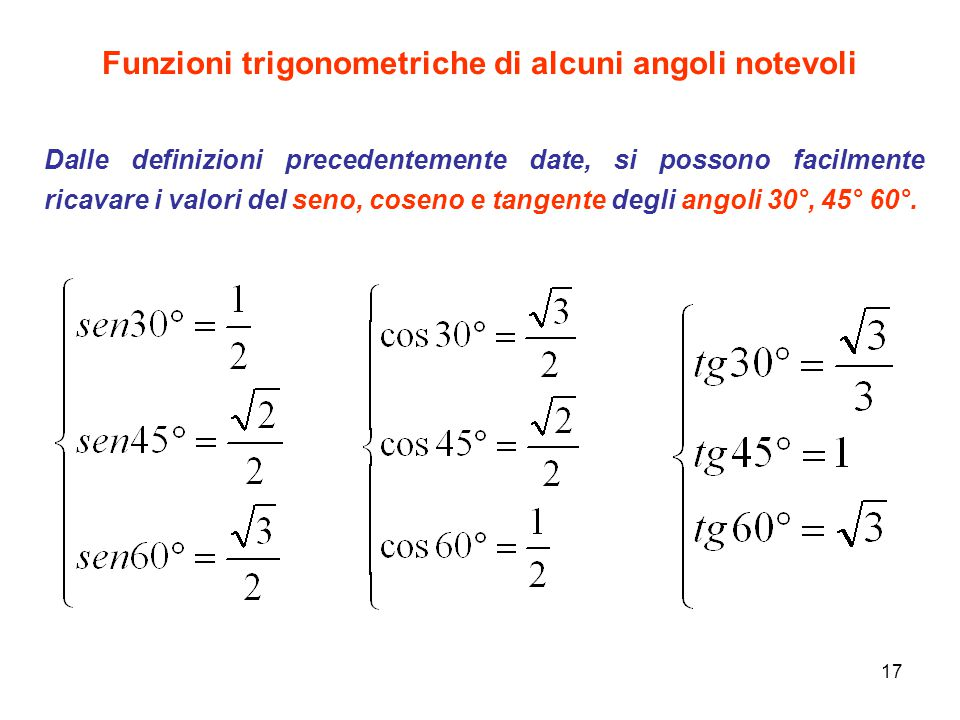 Funzioni trigonometriche di alcuni angoli notevoli