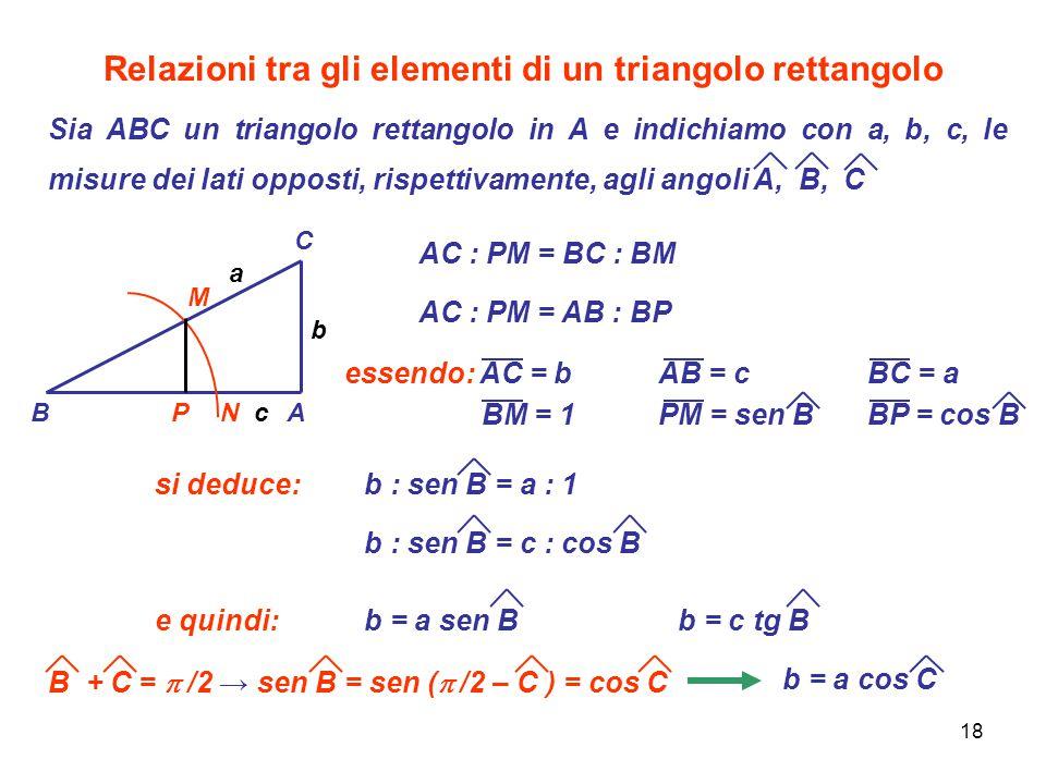 Relazioni tra gli elementi di un triangolo rettangolo