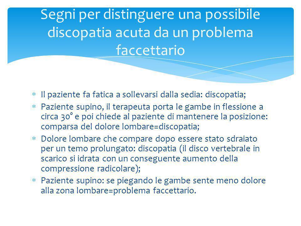 Segni per distinguere una possibile discopatia acuta da un problema faccettario