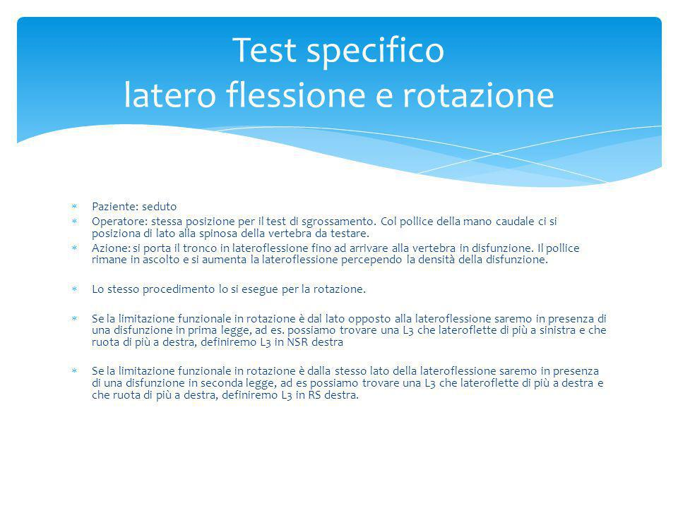 Test specifico latero flessione e rotazione
