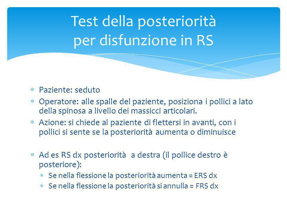 Test della posteriorità per disfunzione in RS