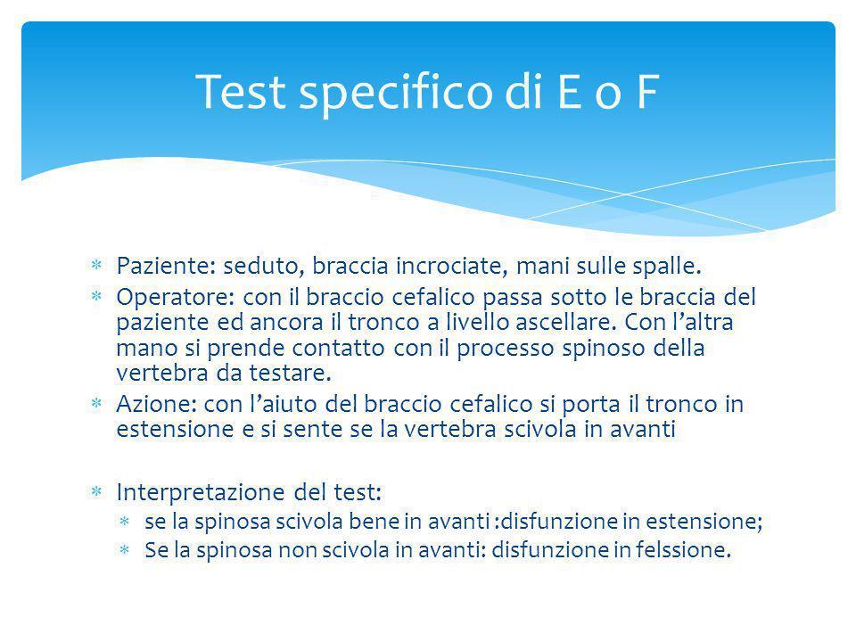 Test specifico di E o F Paziente: seduto, braccia incrociate, mani sulle spalle.
