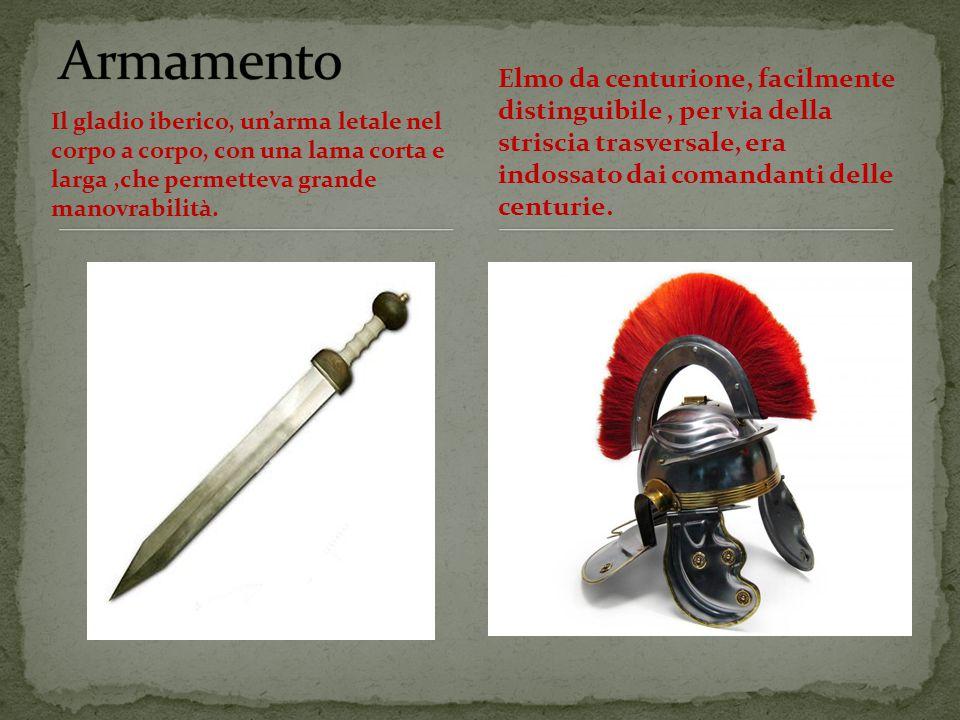 Armamento Elmo da centurione, facilmente distinguibile , per via della striscia trasversale, era indossato dai comandanti delle centurie.
