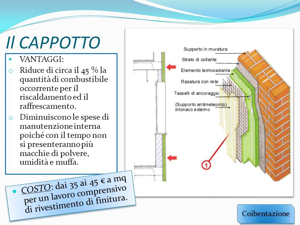 Il CAPPOTTO VANTAGGI: Riduce di circa il 45 % la quantità di combustibile occorrente per il riscaldamento ed il raffrescamento.