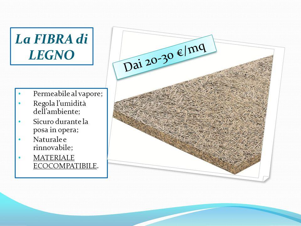 La FIBRA di LEGNO Dai 20-30 €/mq Permeabile al vapore;
