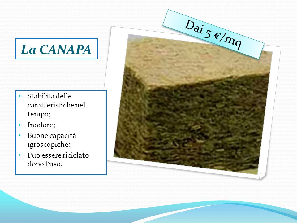 La CANAPA Dai 5 €/mq Stabilità delle caratteristiche nel tempo;