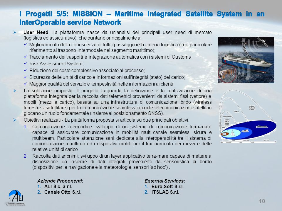 I Progetti 5/5: MISSION – Maritime Integrated Satellite System in an InterOperable service Network
