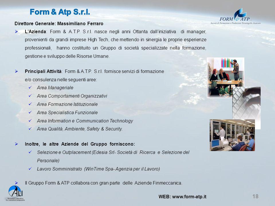 Form & Atp S.r.l. Direttore Generale: Massimiliano Ferraro