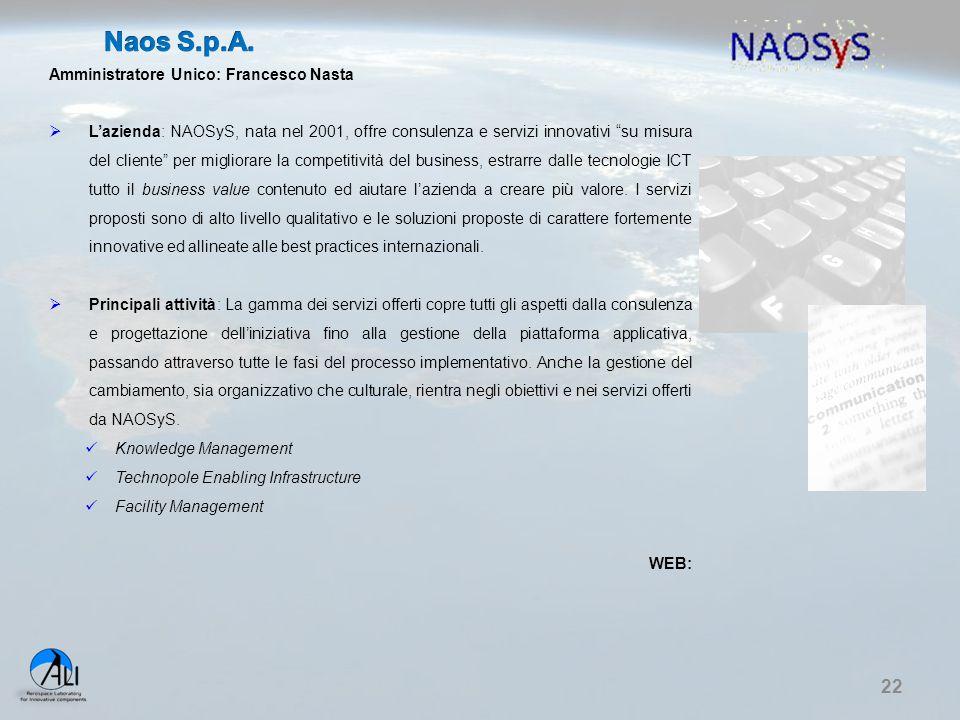 Naos S.p.A. Amministratore Unico: Francesco Nasta