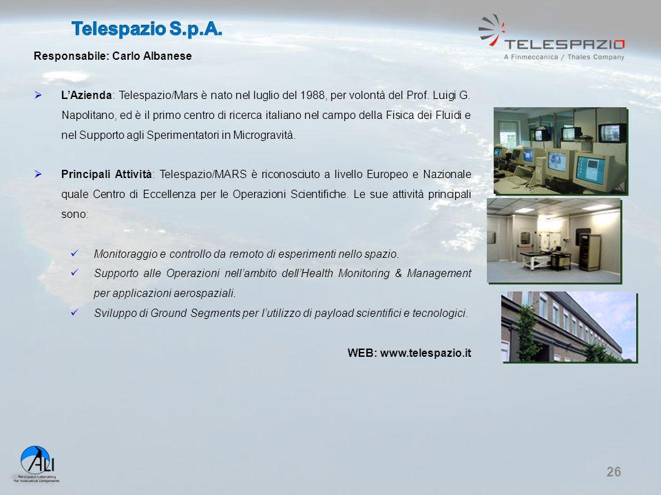 Telespazio S.p.A. Responsabile: Carlo Albanese