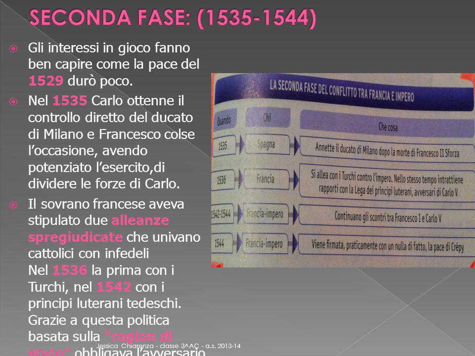 SECONDA FASE: (1535-1544) Gli interessi in gioco fanno ben capire come la pace del 1529 durò poco.