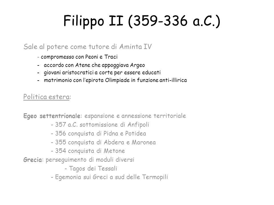 Filippo II (359-336 a.C.) Sale al potere come tutore di Aminta IV
