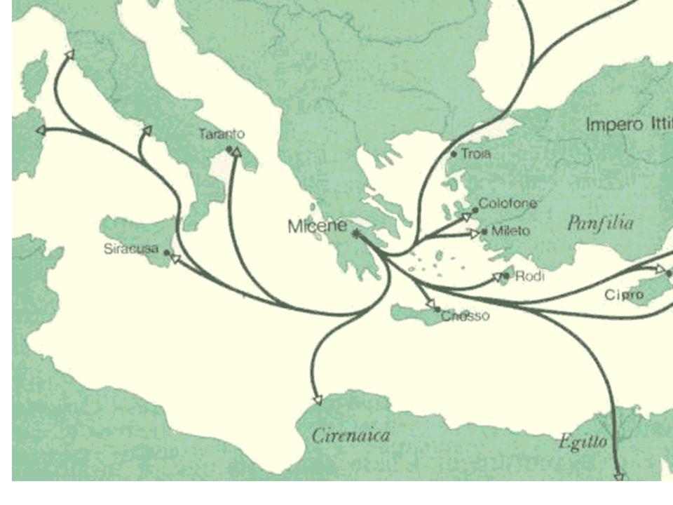 Espansione micenea e aree di diffusione dei prodotti micenei (rinvenimenti archeologici)