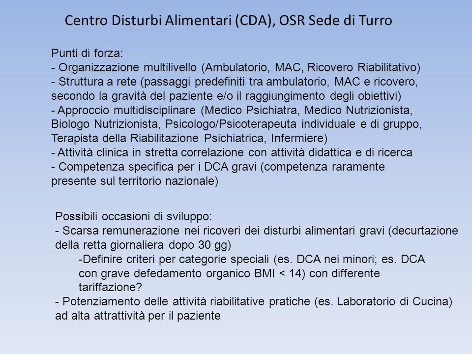 Centro Disturbi Alimentari (CDA), OSR Sede di Turro
