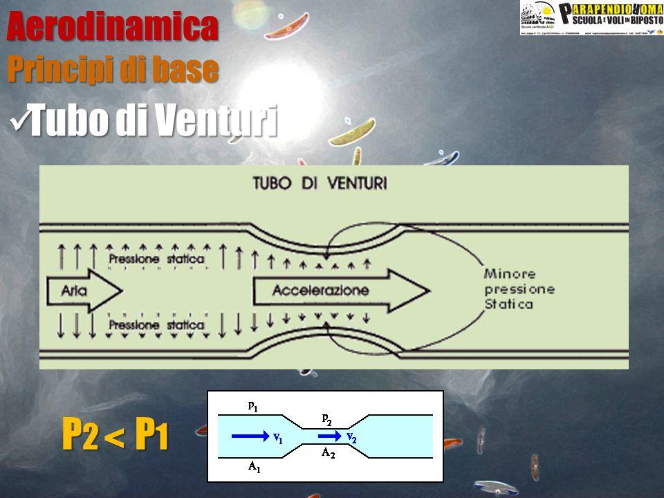 Aerodinamica Principi di base Tubo di Venturi P2 P1 <