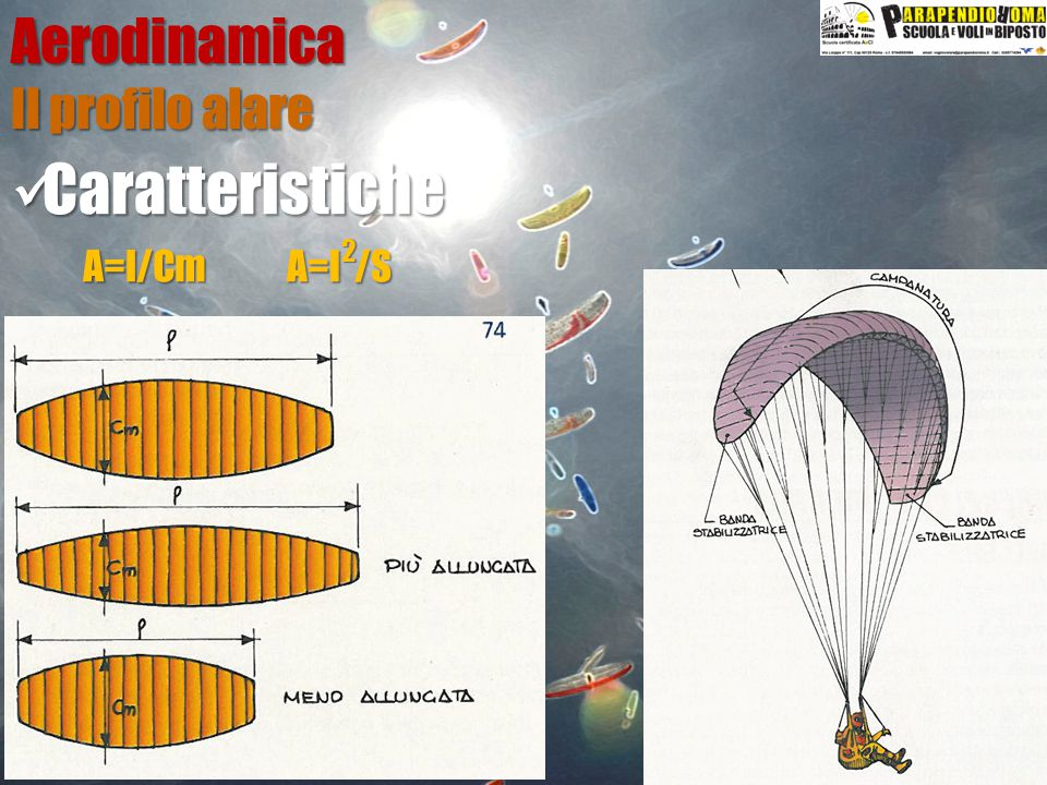 Aerodinamica Il profilo alare Caratteristiche A=l /S 2 A=l/Cm