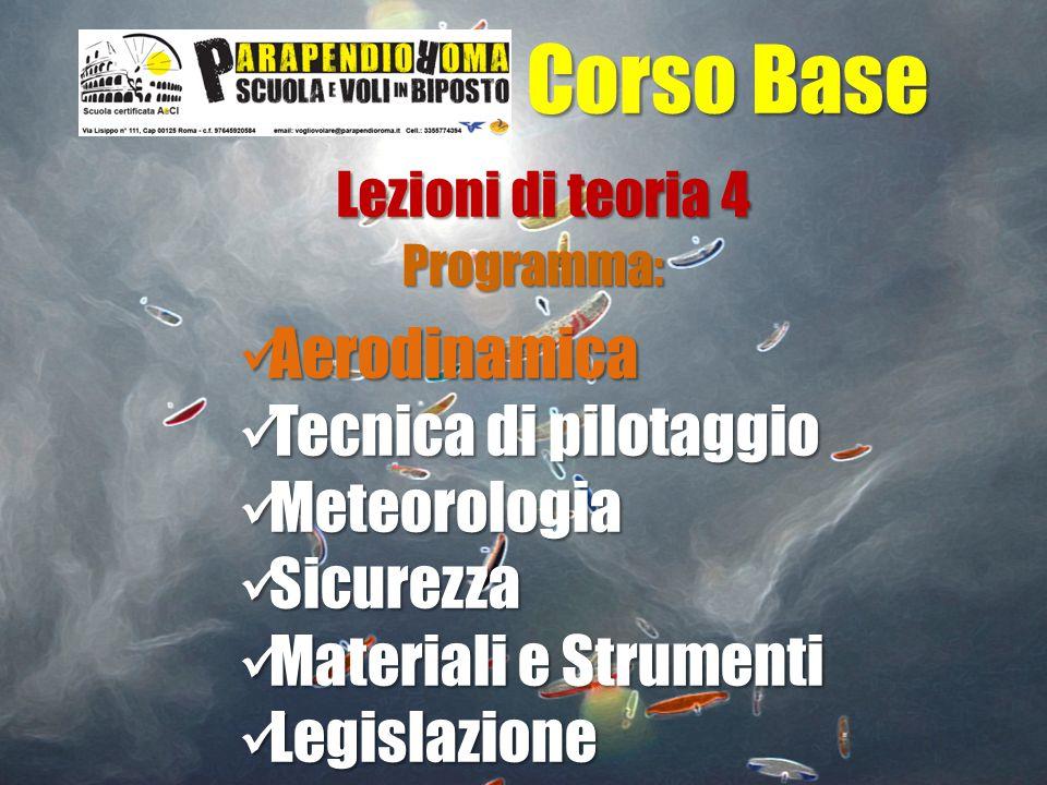 Corso Base Aerodinamica Tecnica di pilotaggio Meteorologia Sicurezza