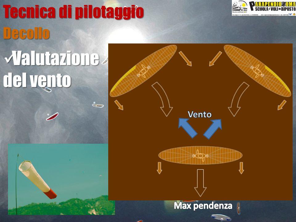 Tecnica di pilotaggio Decollo Vento Max pendenza Valutazione del vento