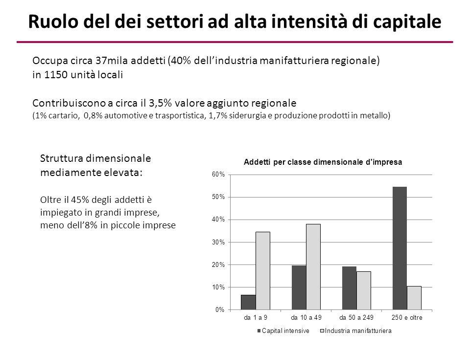 Ruolo del dei settori ad alta intensità di capitale
