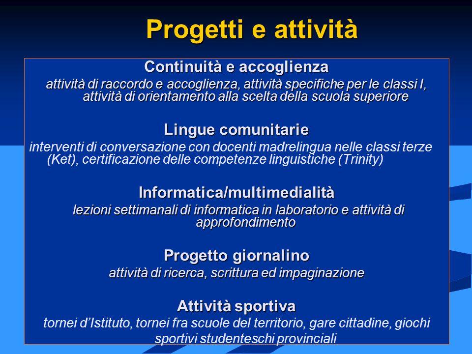 Continuità e accoglienza Informatica/multimedialità
