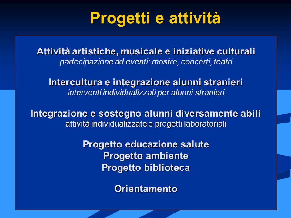 Progetti e attività Attività artistiche, musicale e iniziative culturali. partecipazione ad eventi: mostre, concerti, teatri.