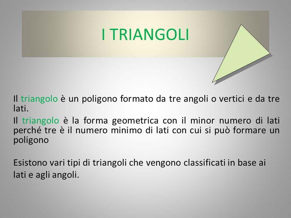 I TRIANGOLI Il triangolo è un poligono formato da tre angoli o vertici e da tre lati.