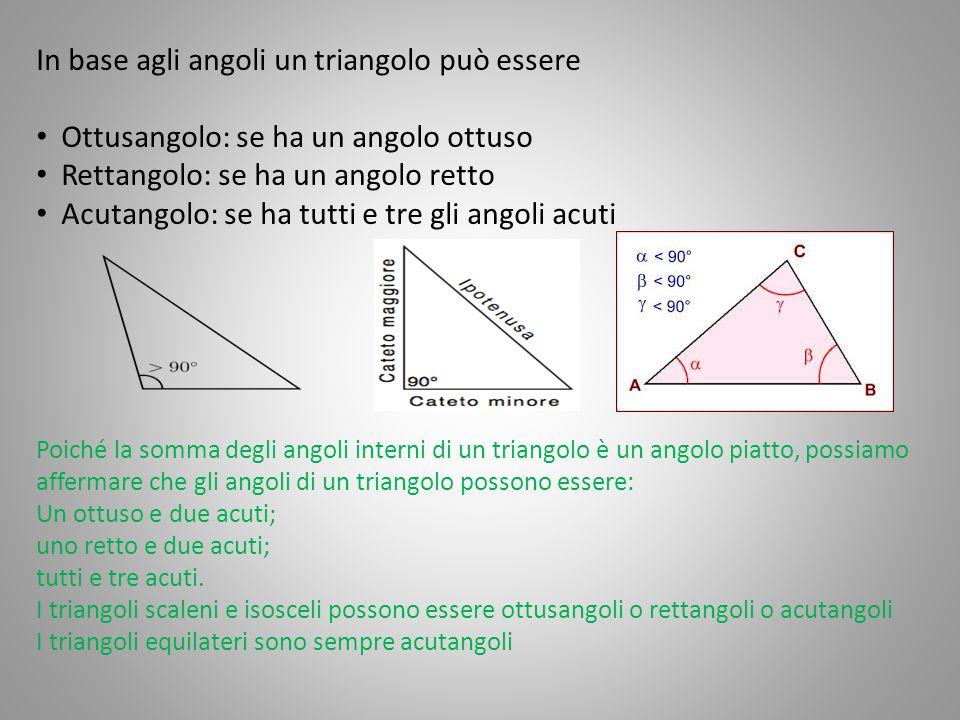 In base agli angoli un triangolo può essere