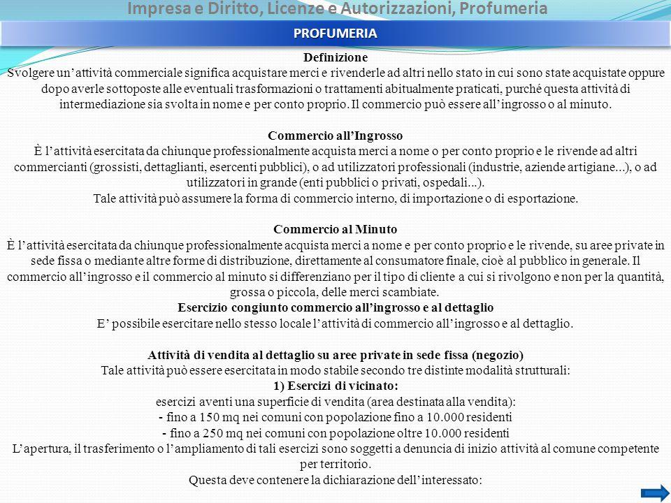 Impresa e Diritto, Licenze e Autorizzazioni, Profumeria